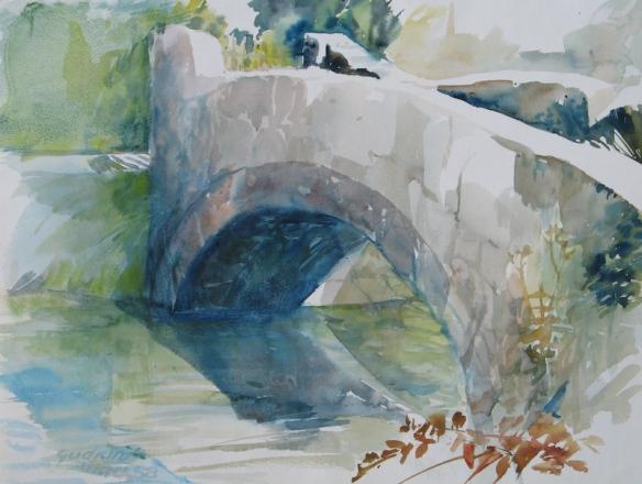 Gudrun Gantzhorn: Alte Brücke in Urach (Aquarell, 1988)