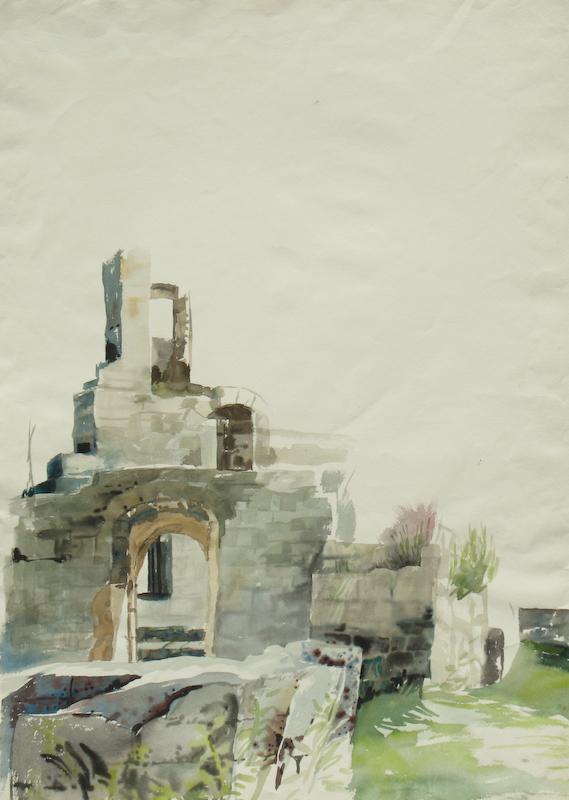 Gudrun Gantzhorn: Fragment Hohen Urach (Aquarell)