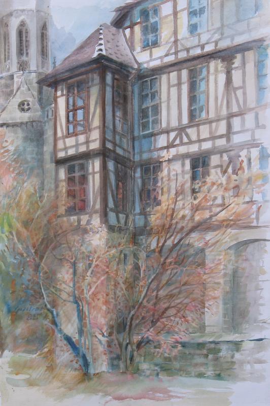 Gudrun Gantzhorn: Uracher Schloss (Aquarell)